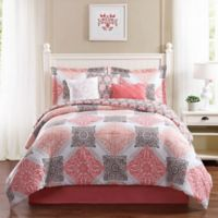 Studio 17 Mallory 7-Piece King Reversible Comforter Set in Coral/Taupe