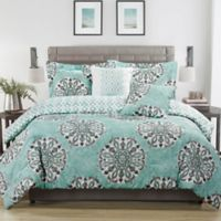 Studio 17 Daniella 5-Piece Full/Queen Reversible Comforter Set in Aqua/Grey