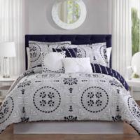 Studio 17 Bailey 7-Piece King Reversible Comforter Set in Navy