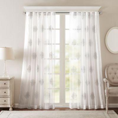 BombayR Massa 120 Inch Rod Pocket Sheer Window Curtain Panel In Silver