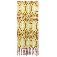 Kantha Cotton Bed Runner in Mustard, Burgundy and White