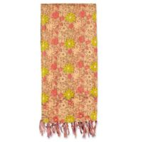 Kantha Cotton Bed Runner in Taupe, Green and Pink