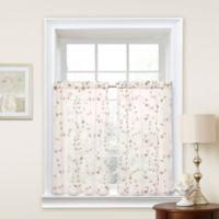 Caspia 24-Inch Kitchen Window Curtain Tier Pair in Ivory/Gold