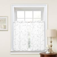 Caspia 36-Inch Kitchen Window Curtain Tier Pair in White/White