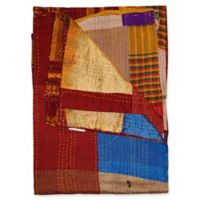 Kantha Silk Throw in Burgundy, Yellow and Blue