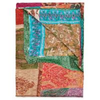 Kantha Silk Throw in Beige, Red and Turquoise