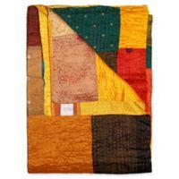 Kantha Silk Throw in Yellow, Orange and Brown