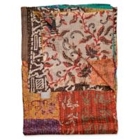 Kantha Silk Throw in Orange, Cream and Brown