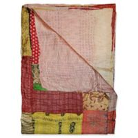 Kantha Silk Throw in Dusty Rose, Yellow and Burgundy