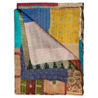 Kantha Silk Throw in Blue, Yellow and Beige