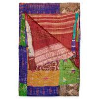 Kantha Silk Throw in Burgundy, Purple and Green