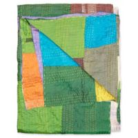 Kantha Silk Throw in Green, Blue and Orange