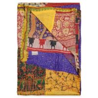Kantha Silk Throw in Yellow, Purple and Burgundy