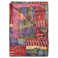 Kantha Silk Throw in Red, Blue-Green and Pink
