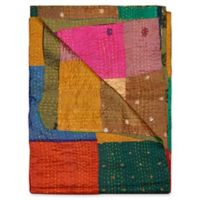 Kantha Silk Throw in Brown, Green and Orange