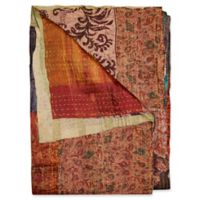 Kantha Silk Throw in Burnt Orange, Light Green and Brown