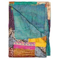 Kantha Silk Throw in Turquoise, Yellow and Pink
