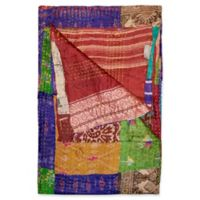 Kantha Silk Throw in Purple, Burgundy and Yellow