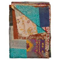Kantha Silk Throw in Turquoise, Beige and Brown