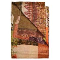 Kantha Silk Throw in Olive, Cream and Burgundy