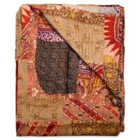 Kantha Silk Throw in Beige, Red and Brown
