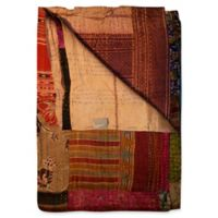Kantha Silk Throw in Cream, Burgundy and Red