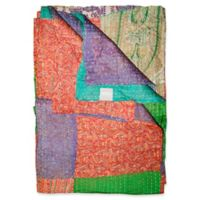 Kantha Silk Throw in Orange, Purple and Green