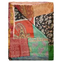 Kantha Silk Throw in Orange, Green and Black