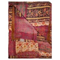 Kantha Silk Throw in Wine, Cream and Red