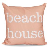 """Beach House"" Word Print Square Throw Pillow in Coral"