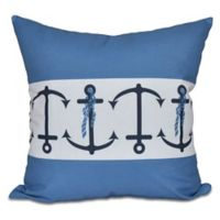 Anchor Stripe Square Throw Pillow in Blue