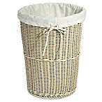 Seville Classics Wicker Weave Laundry Hamper in Ivory
