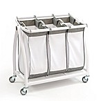 Seville Classics 3-Bag Laundry Hamper Sorter Cart in White