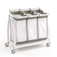 Seville Classics 3-Bag Laundry Hamper Sorter Cart in White