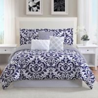 Studio 17 Anson 7-Piece Reversible Queen Comforter Set in Navy