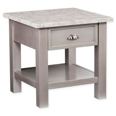 Southern Enterprises Youngston Faux Marble End Table In Antique Grey