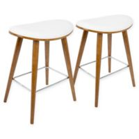LumiSource Saddle Counter Stools in Walnut/White (Set of 2)
