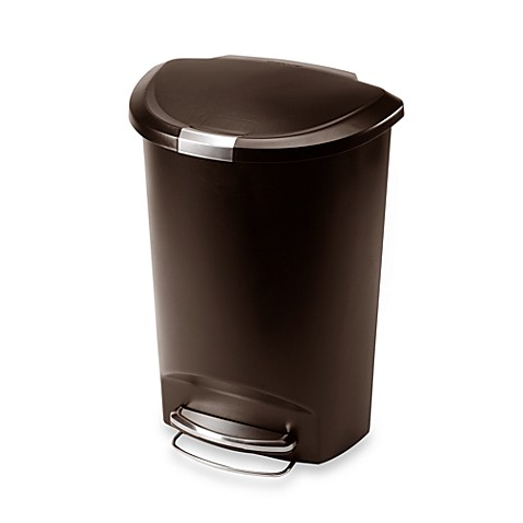 Simplehuman Plastic Semi Round 50 Liter Step On Trash Can