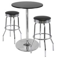 Winsome Summit 3-Piece Pub Table Set in Black/Chrome