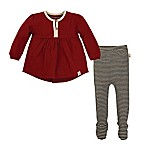 Burt's Bees Baby® Size 3M 2-Piece Organic Cotton Long Sleeve Top and Striped Legging Set in Red