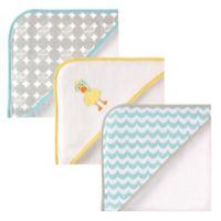 Luvable Friends® 3-Pack Scuba Duck Hooded Towel Set in Yellow/Aqua