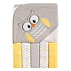 Luvable Friends® 6-Piece Owl Hooded Towel and Washcloth Set in Yellow/Gray
