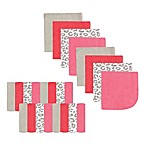 Luvable Friends® 24-Pack Leopard Washcloths in Grey/Pink