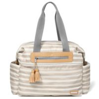 SKIP*HOP® Riverside Stripe Ultra Light Satchel Diaper Bag in Oyster