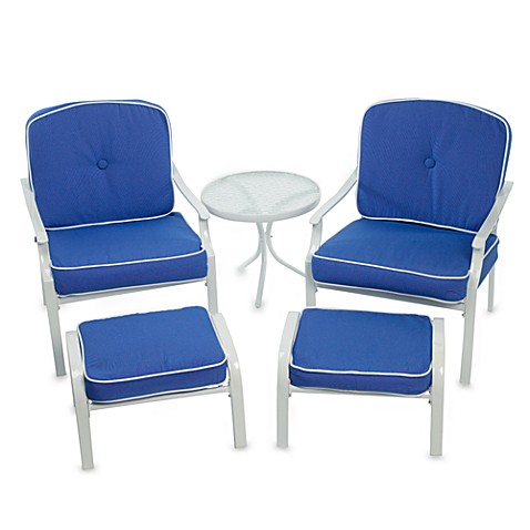 Deep Seating 5 Piece Outdoor Furniture Set Blue Bed Bath Beyond