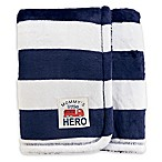 carter's® Stripes Plush Blanket in Navy/White