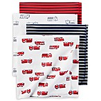 carter's® 4-Pack Fire Truck Receiving Blankets in Black/Red