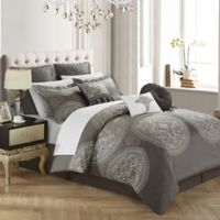 Chic Home Lira 9-Piece King Comforter Set in Grey