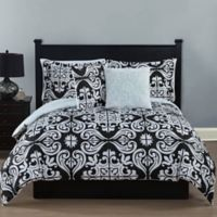 Studio 17 Helena 5-Piece Full/Queen Reversible Comforter Set in Black