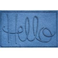 """Weather Guard™ """"Hello"""" 24-Inch x 36-Inch Door Mat in Blue"""
